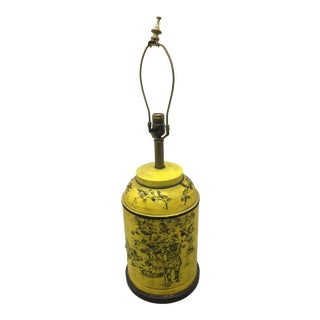 1970s Vintage Yellow Tole Tea Canister Chinoiserie Style Lamp by Frederick Cooper For Sale