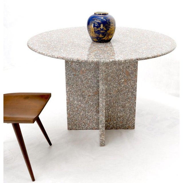 Mid-Century Modern Round Granite Stone X Base Dining Dinette Center Table For Sale - Image 3 of 9