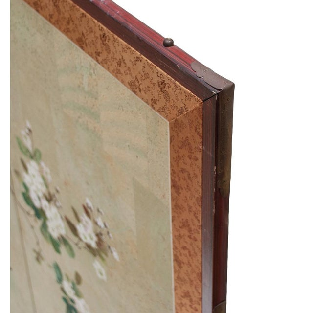Early 20th Century Japanese Four Panel Byobu Screen For Sale - Image 10 of 13