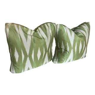 Regency Green and Blue Ikat Flamestitch Pillows - a Pair For Sale