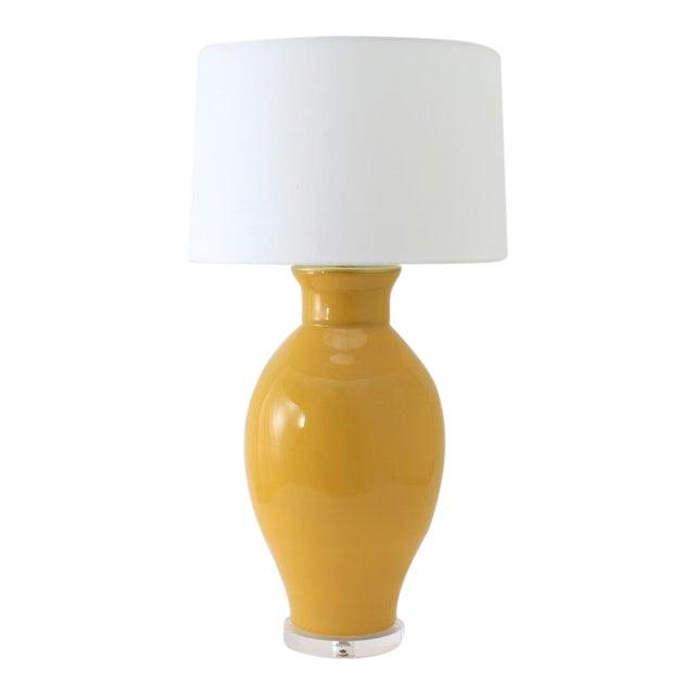 "Paul Schneider Ceramic ""Matagorda"" Lamp in Glossy Mustard Glaze For Sale"