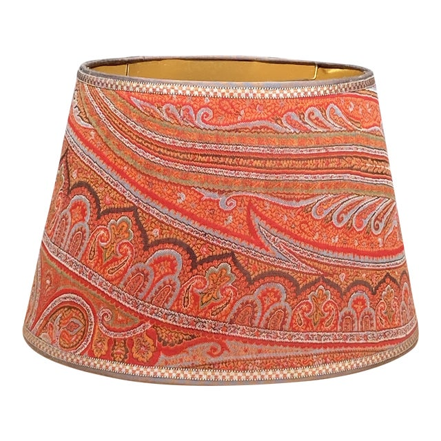 Paisley Wool Antique Fabric Lamp Shade For Sale
