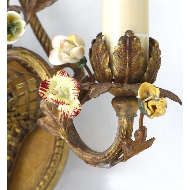 Antique French Bronze and Porcelain Floral Basket Sconces - a Pair For Sale - Image 5 of 10