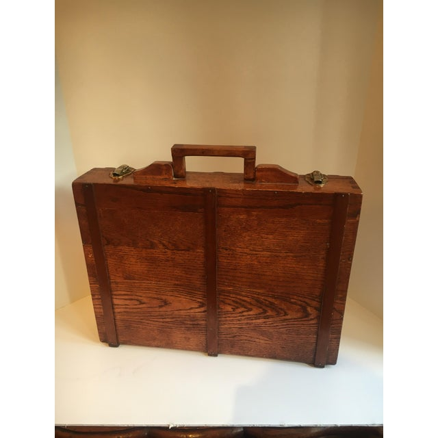 A handsome and well made wooden briefcase/ attache case - designed to hold pencils and more... great for stashing money,...