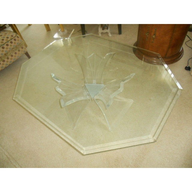 Mid-Century Lucite Base & Glass Top Cocktail Table For Sale - Image 4 of 7