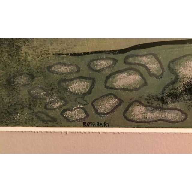Watercolor Surrealist Landscape Signed Rothbart For Sale - Image 7 of 8