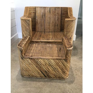 1970s Split Reed Bamboo Club Chair With Ottoman Preview
