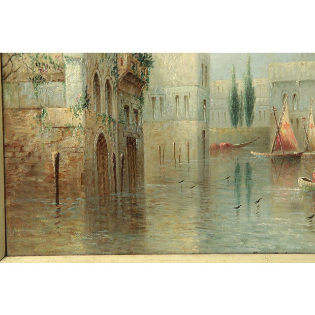 Blue British Grand Canal Venice Antique Oil Paintings by James Salt - a Pair For Sale - Image 8 of 11