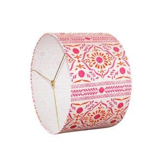 John Robshaw Pink and Orange Block Print Fabric Drum Lampshade Preview