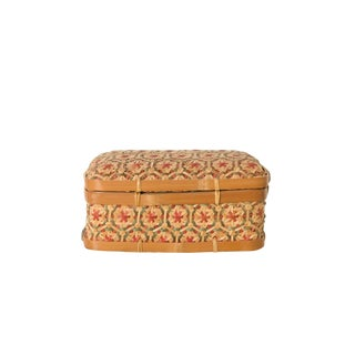 1970s Vintage Rosy Toned Woven Box For Sale