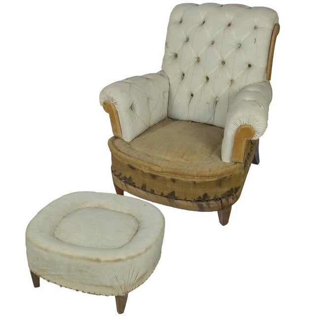 Large Tufted Armchair & Ottoman For Sale - Image 9 of 9