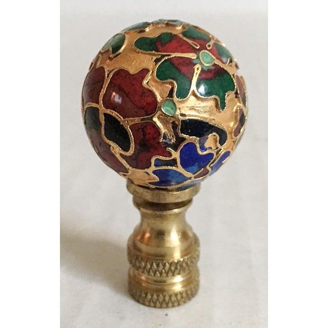 Vintage Cloisonne Floral Lamp Finial - Image 5 of 6