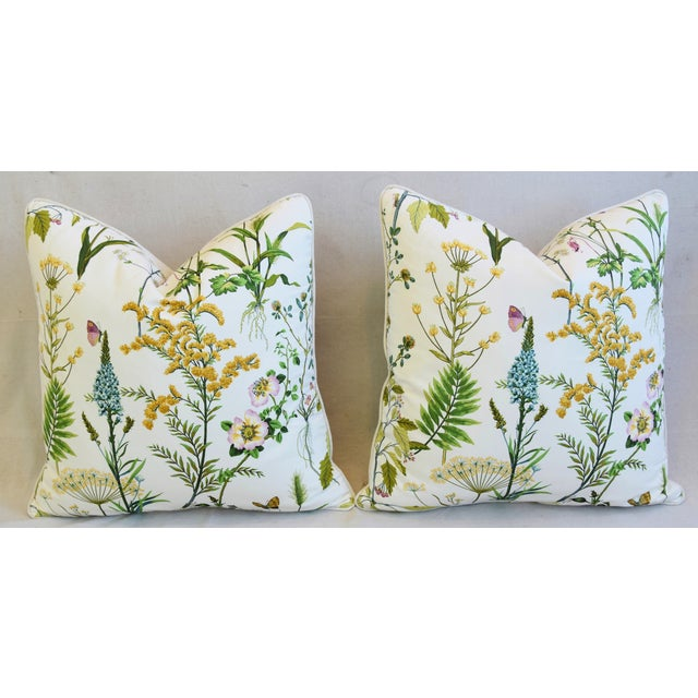 "Wildflower Botanical Cotton & Linen Feather/Down Pillows 24"" Square - Pair For Sale In Los Angeles - Image 6 of 13"