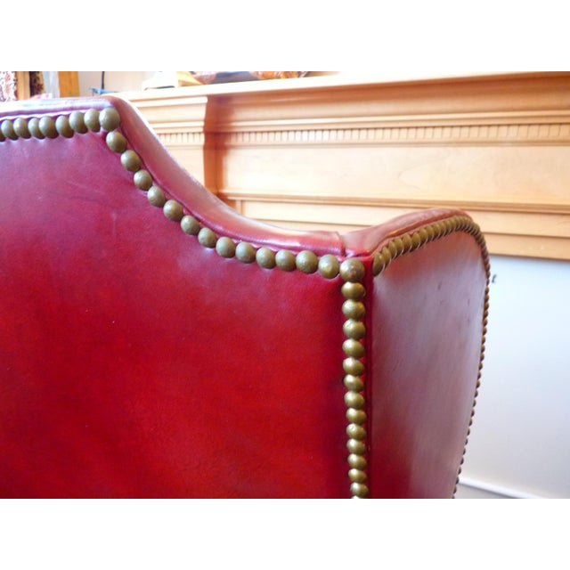 Animal Skin Vintage Red Leather Wingback Chairs With Nailhead Detail and Generous Proportions- Pair For Sale - Image 7 of 13