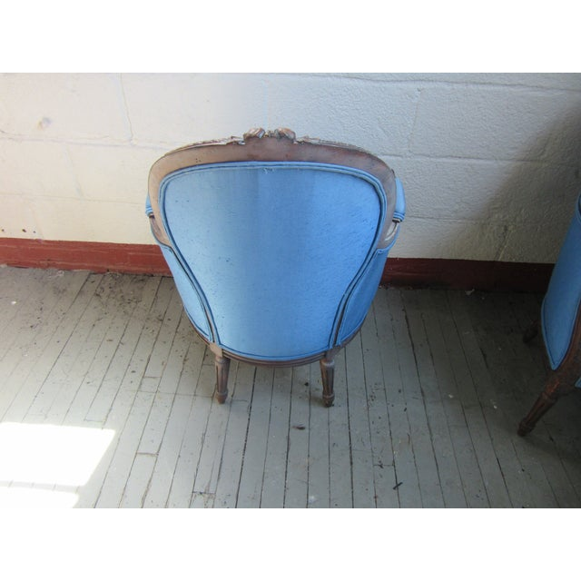 1940s Antique Petite French Blue Upholstery Carved Walnut Frame Fireside Chairs or Bergeres- a Pair For Sale - Image 4 of 13