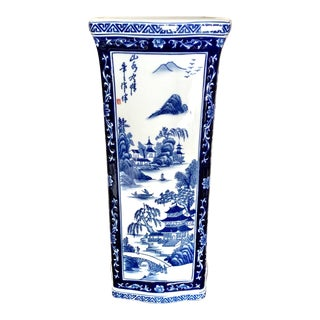 Large Square Chinoiserie Blue and White Hand Painted Ceramic Vase For Sale