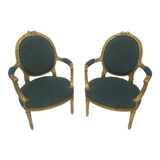 19th C. French Gilt Chairs - a Pair For Sale