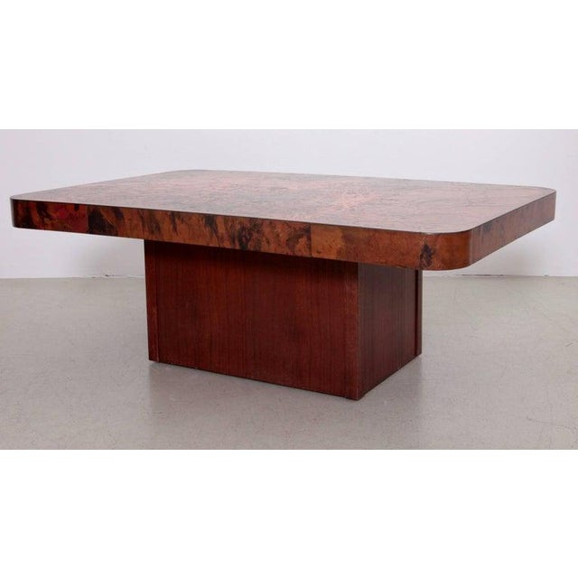 1960s Rare Huge Copper and Mahogany Coffee Table by Bernhard Rohne For Sale - Image 5 of 6