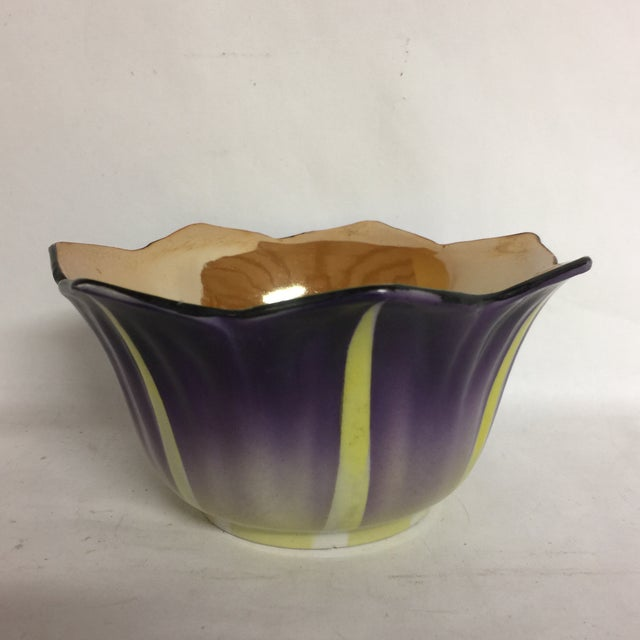 Purple Vintage Hand Painted Opalescent Bowl and Plate For Sale - Image 8 of 9