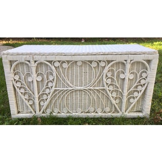 White Heart Peacock Wicker Rattan Trunk Preview
