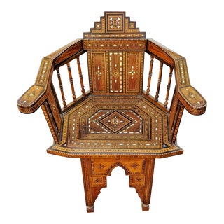1930's Moroccan Carved & Mother of Pearl Inlaid Chair For Sale
