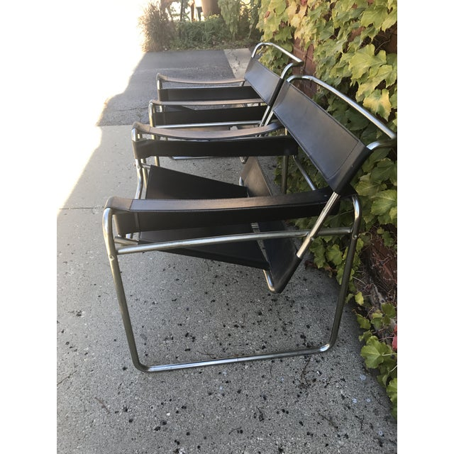 Mid century black wassily reproduction chairs a pair for Mid century reproduction