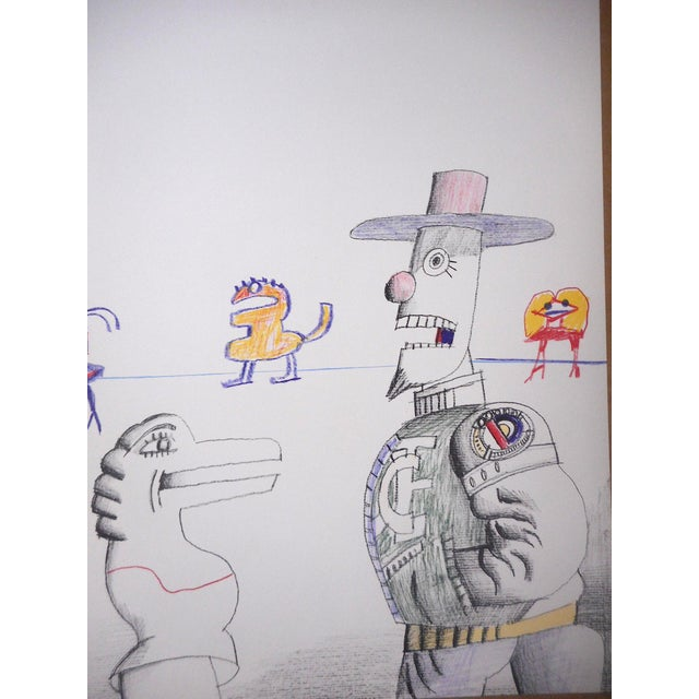 This vibrant lithograph ( this is not an offset lithograph) on smooth wove paper by American artist Saul Steinberg is from...