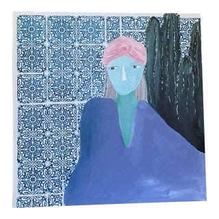 Abstract Blue Woman Acrylic Painting For Sale