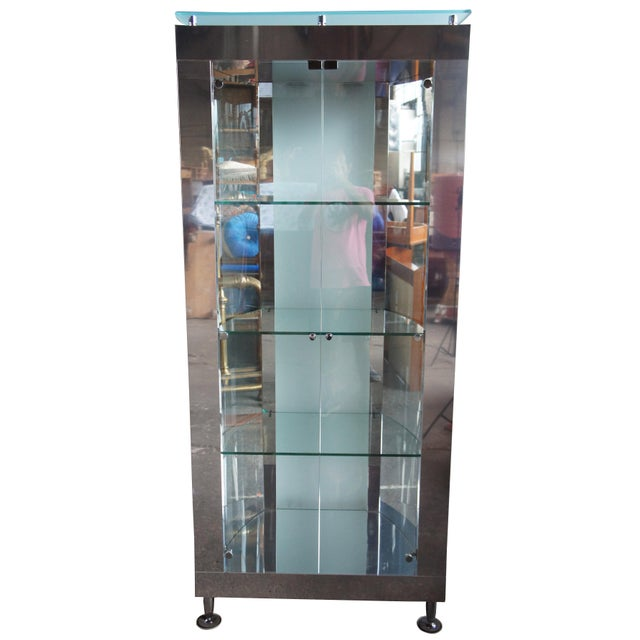 1990s Vintage Chrome Illuminated Modern Display Cabinet For Sale - Image 13 of 13