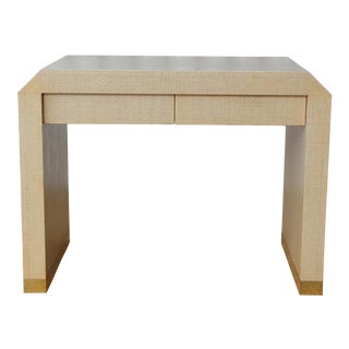 1980s Harrison Van Horn Lacquered Raffia Console Table For Sale