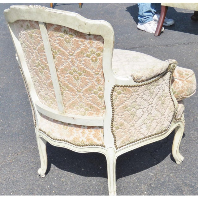 Louis XVI Style Distressed Cream Painted Bergere Chairs - A Pair For Sale - Image 5 of 5