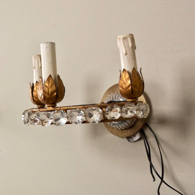 French French Three Light Oval Crystal Beads Sconces - Pair For Sale - Image 3 of 8