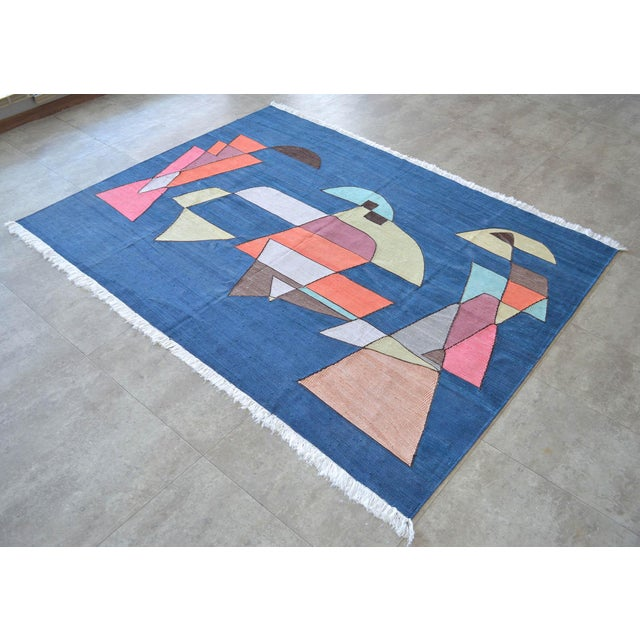 Art Deco Paul Klee - Sailing Boats - Inspired Silk Hand Woven Area - Wall Rug 4′6″ × 5′9″ For Sale - Image 3 of 11