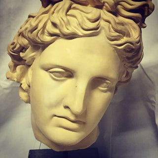 NeoClassical Plaster Bust Sculpture - Greek God's Head on Stone Base Preview
