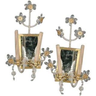 1940s Pair of Beaded Sconces For Sale