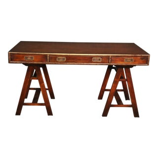 English Solid Mahogany & Brass Campaign Style Writing Table Desk For Sale