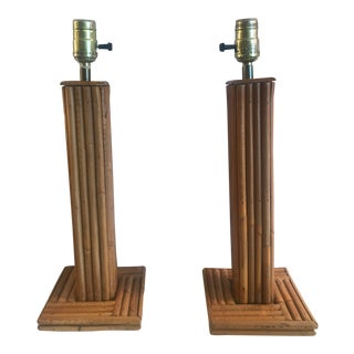 Vintage Pencil Bamboo Table Lamps - a Pair For Sale