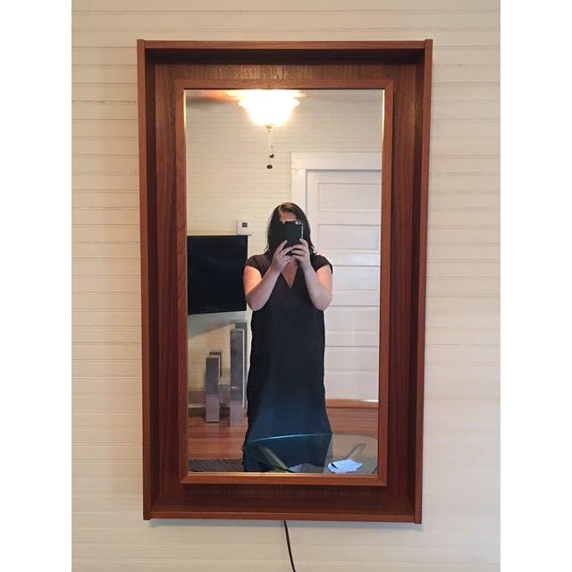 Backlit Teak Framed Mirror by Pedersen & Hansen - Image 3 of 4