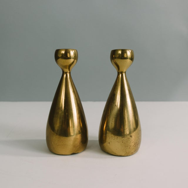 Gold 1950s Ben Seibel Brass Candlestick Holders - a Pair For Sale - Image 8 of 8