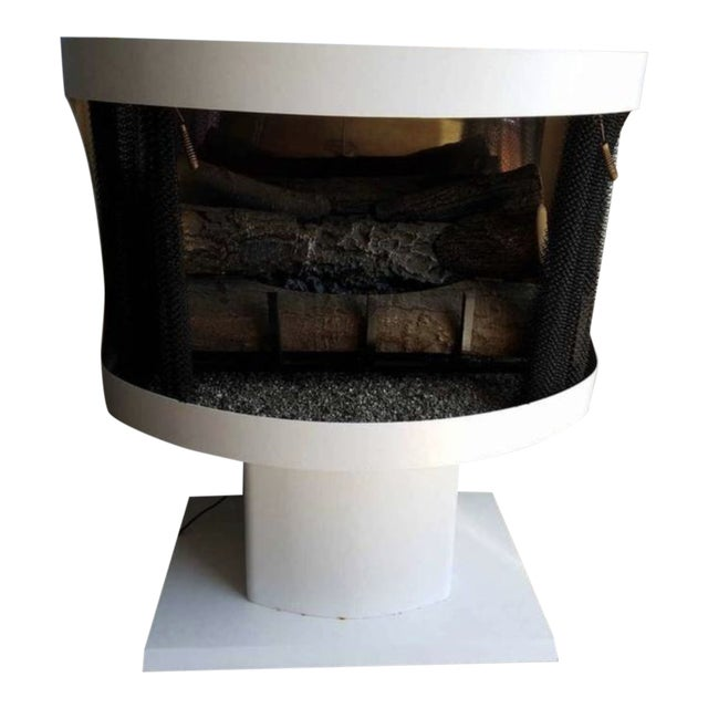 Mastercraft Mid-Century White Metal Enamel Electric Fireplace For Sale
