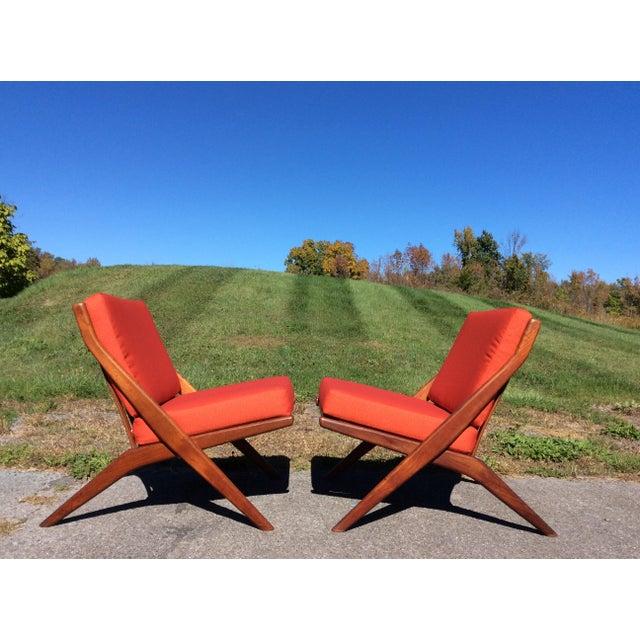 Mid-Century Modern Folke Ohlsson for Dux Teak Scissor Chairs - A Pair For Sale - Image 3 of 9