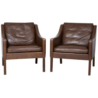 Pair of Borge Mogensen Model #2207 Leather Lounge Chairs
