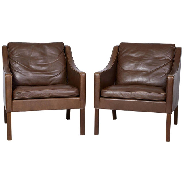 Pair of Borge Mogensen Model #2207 Leather Lounge Chairs - Image 1 of 9