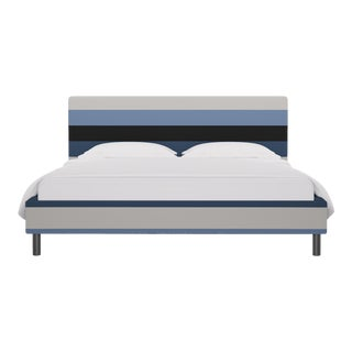 California King Tailored Platform Bed in Blue Color Block Stripe For Sale