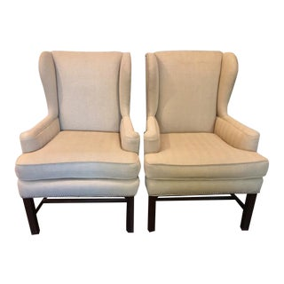 Beige American Wingback Chairs - A Pair For Sale