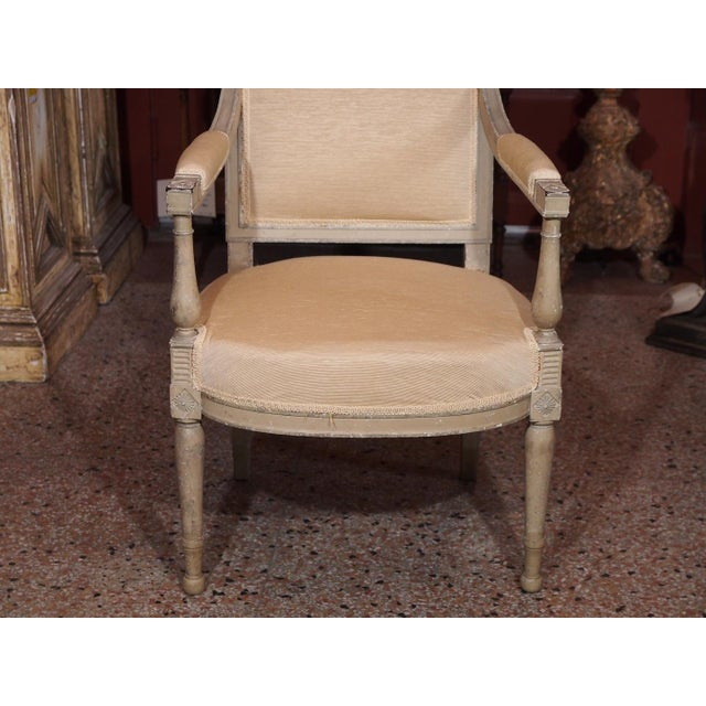 Wood 19th Century Painted Directoire Style Fauteuils - Pair For Sale - Image 7 of 8