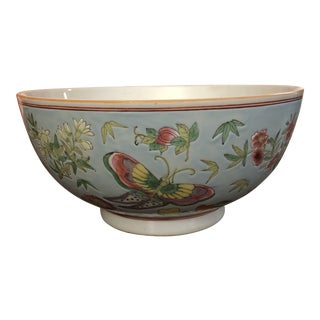 Gump's San Francisco Porcelain Asian Butterfly Bowl For Sale