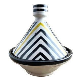 Moroccan Modern Yellow Stripe Tagine, L For Sale