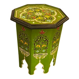 Hand Carved and Painted Wood Moroccan Side/ Drinks Table For Sale