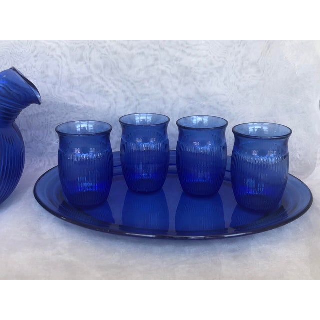 Contemporary Vintage Cobalt Blue Glass Lemonade Set- 6 Pieces For Sale - Image 3 of 13